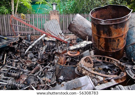 Metal waste and scrap the old car parts. - stock photo