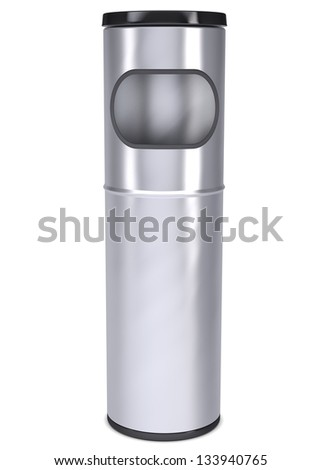 Metal waste bin. Isolated render on a white background - stock photo