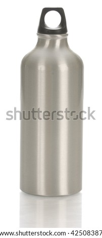 metal water bottle with reflection on white background