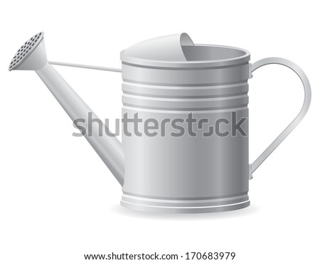 metal watering can illustration isolated on white background - stock photo