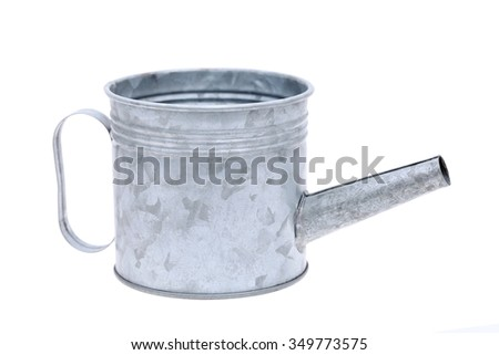 metal watering can isolated on white background  - stock photo