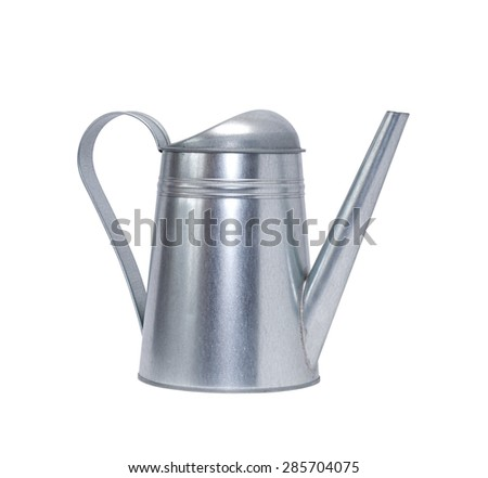 Metal watering can isolated on white background with clipping path - stock photo