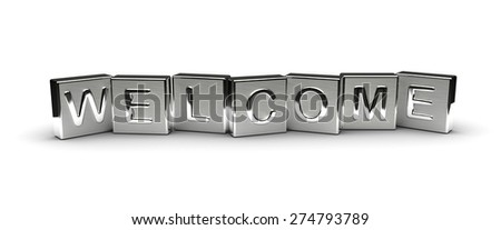 Metal Welcome Text (isolated on white background) - stock photo