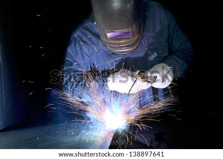 Metal welding with sparking - stock photo
