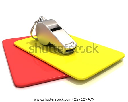 Metal whistle and penalty card, isolated on white background. Side view - stock photo