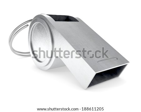 Metal whistle isolated on white background. 3d illustration - stock photo