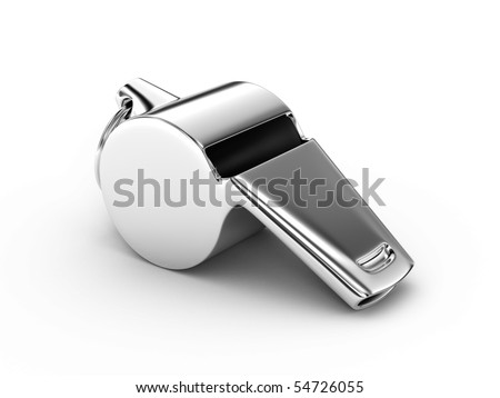 Metal whistle on a white background