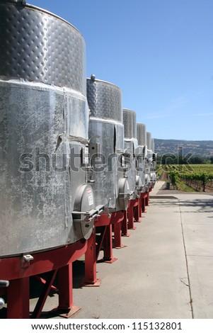 Metal Wine Vats - stock photo