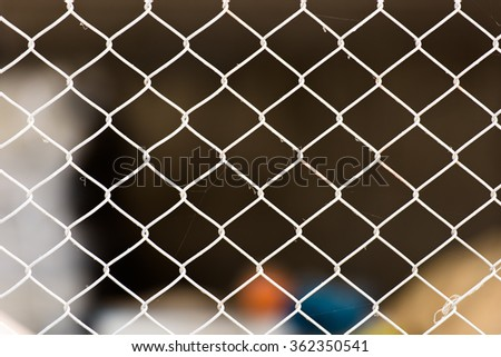 Metal wire fence or cage with blur background