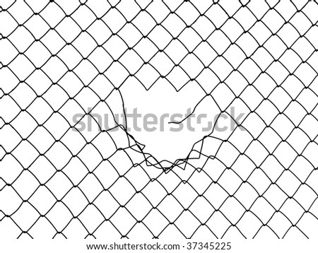 Metal wire fence protection chainlink background - stock photo