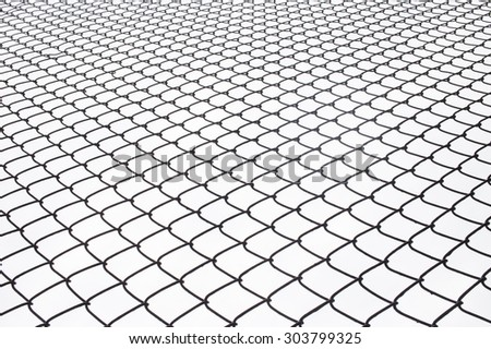 Metal wire fence protection on white for background.