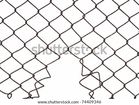 Metal wire fence protection with hole isolated on white for background