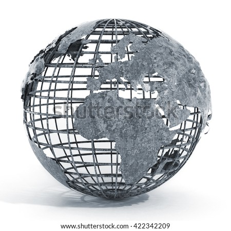 Metal wired globe isolated on white background. 3D illustration.