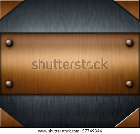 Metal with a gold background - stock photo