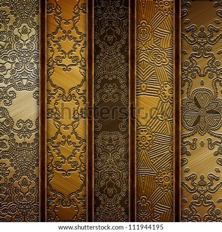 Metal with ornament - stock photo