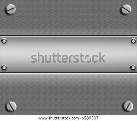 Metal With Plate and Screws - stock photo