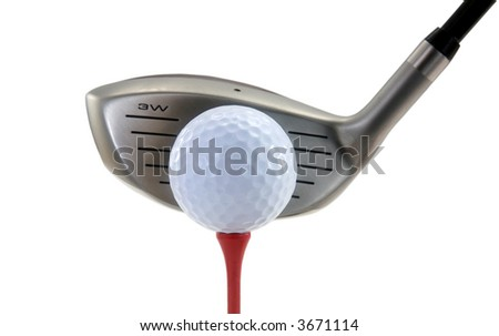 Metal Wood, White Golf Ball and Red Tee Isolated on White - stock photo