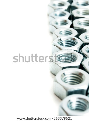 Metal working tools. Metalwork. Metal fixture on a white background. - stock photo