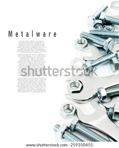 Metal working tools. Metalwork. Metal fixture, spanner on a white background. - stock photo