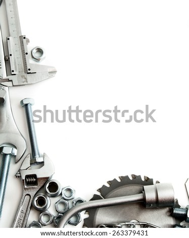 Metal working tools. Metalwork. Ruler, wrench, screw and others tools on white background.