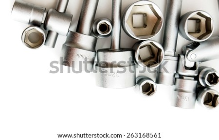 Metal working tools. Metalwork. Set spanner on a white background. - stock photo