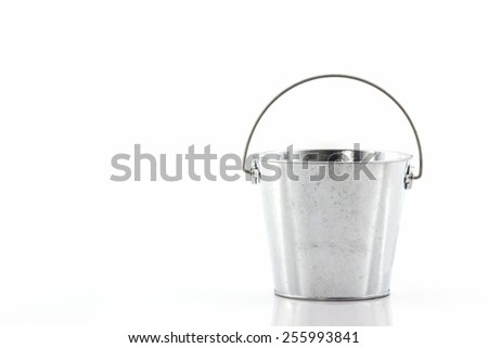 Metal zinc bucket on white background.