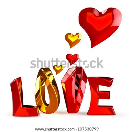 metalic 3D word LOVE with hearts on a white background - stock photo