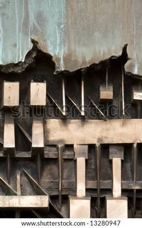 Metalic industrial close-up abstract - stock photo