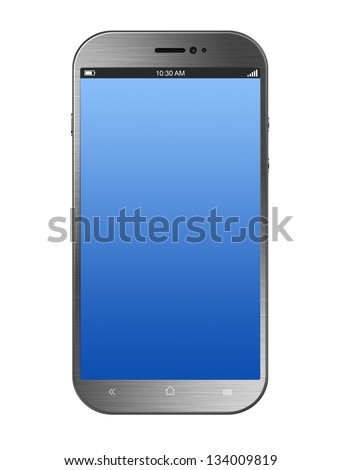 Metalic Silver Smartphone Isolated on White Background - stock photo
