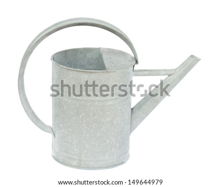 metalic watering can isolated on white background - stock photo