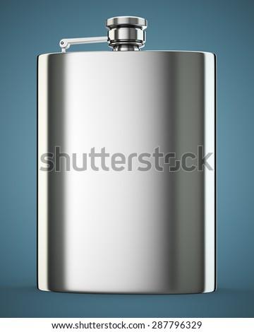Metall hip flask on dark blue background. 3d render - stock photo