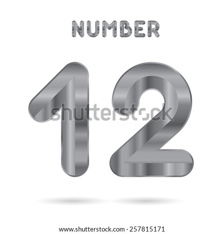 Metallic alphabet. Set of stainless 3d numbers. Digits 1 and 2. - stock photo