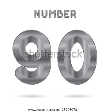 Metallic alphabet. Set of stainless 3d numbers. Digits 9 and 0.