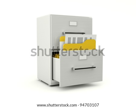 Metallic archive cabinet with folders isolated on white - stock photo
