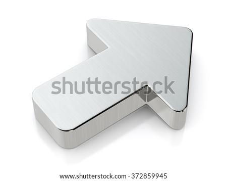 Metallic arrow symbol on a white background. - stock photo