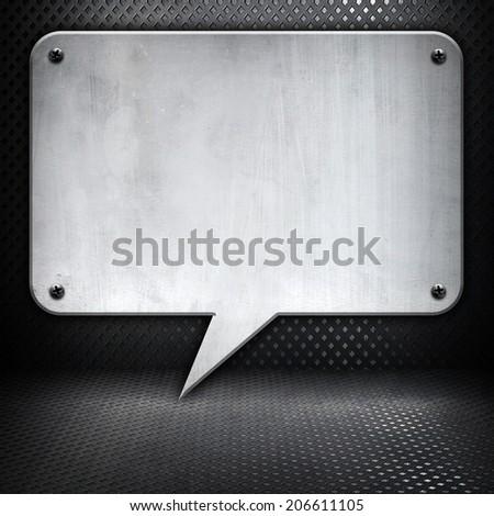 metallic background with dialog pattern  - stock photo