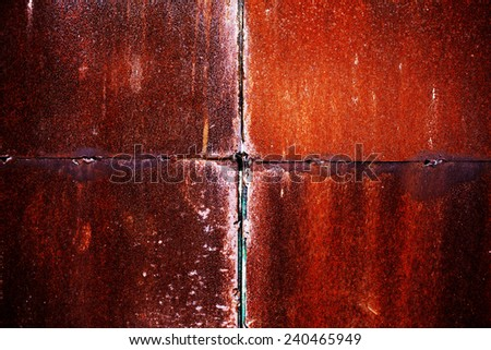 metallic background with natural metal with rust and old paint cracked - stock photo