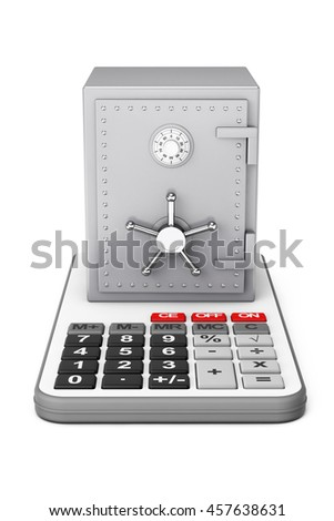 Metallic Bank Safe over Calculator on a white background. 3d Rendering