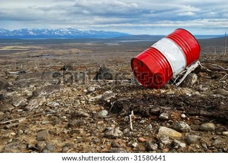 metallic barrel - stock photo