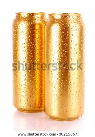 metallic beer with water drops isolated on white - stock photo