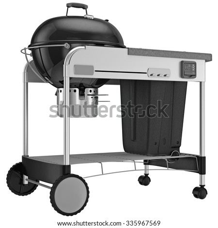 Metallic black enameling boiler coal grill. 3D graphic object on white background isolated