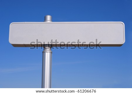 Metallic blanked signpost. Copy space for your own text - stock photo