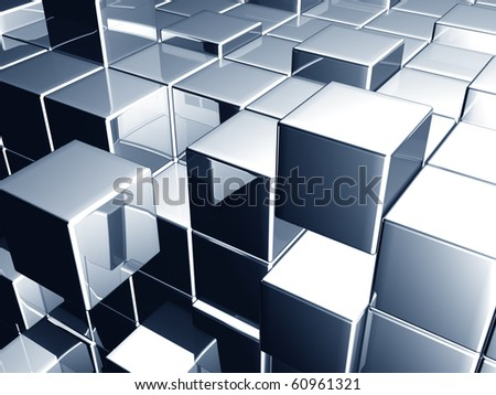 Metallic blue cube dynamic background 3d illustration
