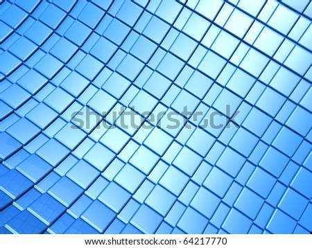 Metallic blue square pattern background 3d illustration