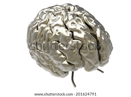 metallic brain on white background with clipping mask