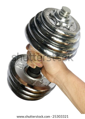metallic, brilliant dumb-bell in a masculine hand on a white background - stock photo