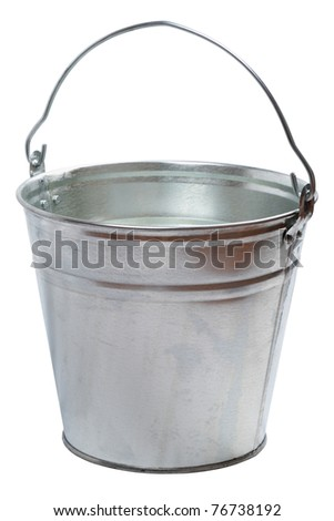 Metallic bucket isolated on a white background