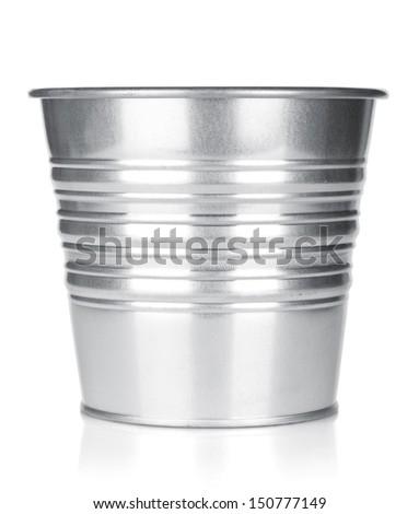 Metallic bucket. Isolated on white background - stock photo