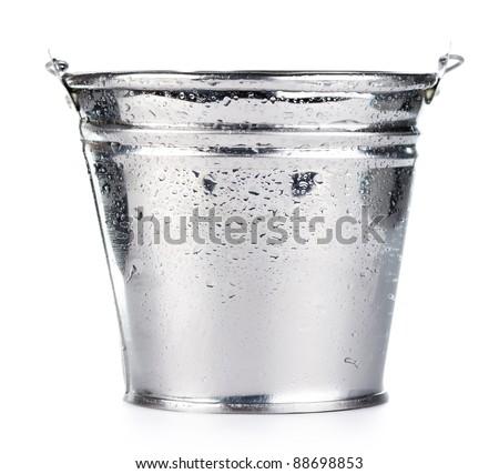 Metallic bucket isolated on white background - stock photo