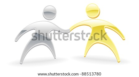 Metallic cartoon mascot character handshake concept - stock photo